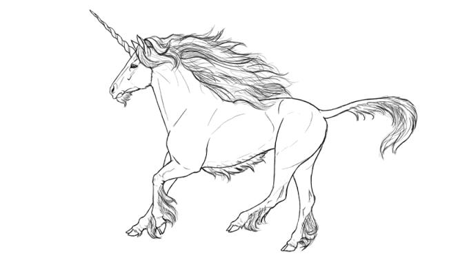 Sketsa unicorn