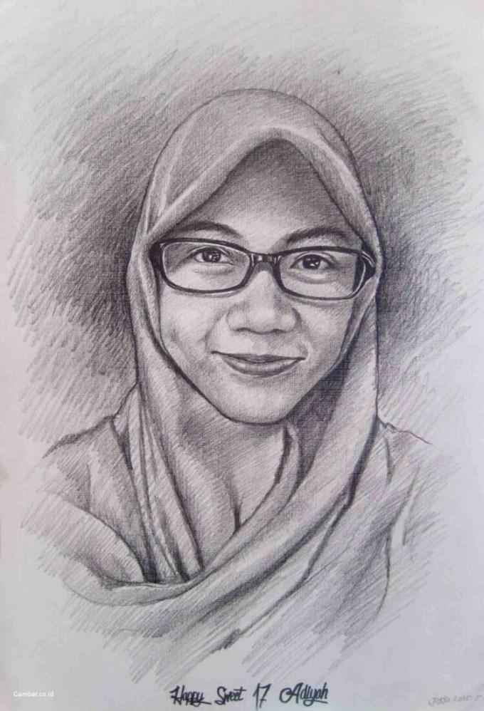 Sketsa wajah muslimah berjilbab