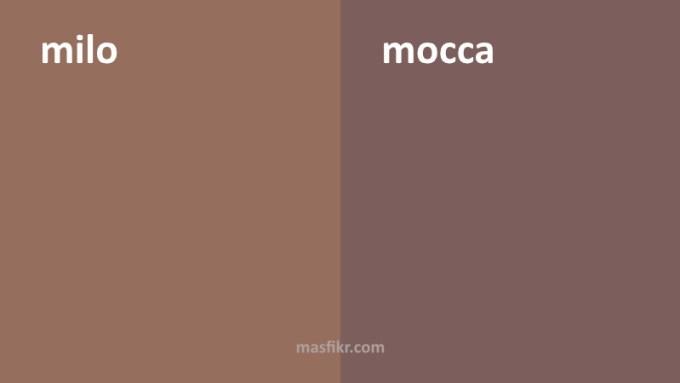 perbedaan warna milo dan mocca