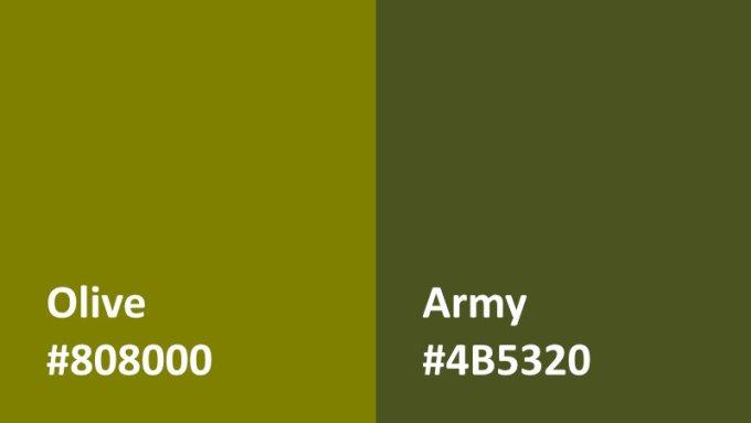 gambar perbedaan warna olive dan army