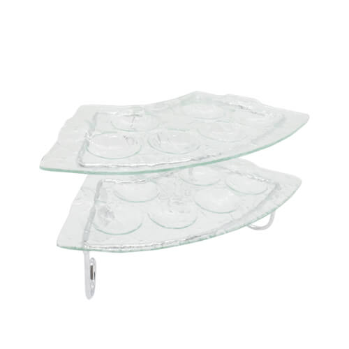 2 layer glass serving tray