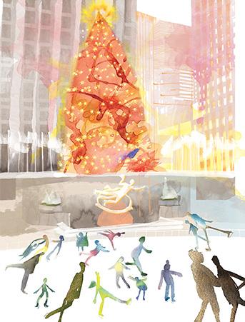 Rock Center New York Skaters Winter Christmas Tree