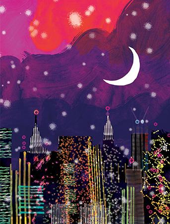 New York Night Skyline Purple Sky City Lights Watercolor