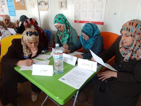 Writing workshop at Zaatari camp.