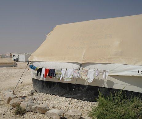 Tent in the Zaatari refugee camp.