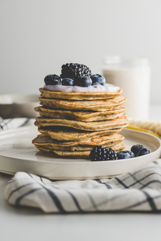 Banana Pancakes with Yogurt, Blueberries, and Blackberries