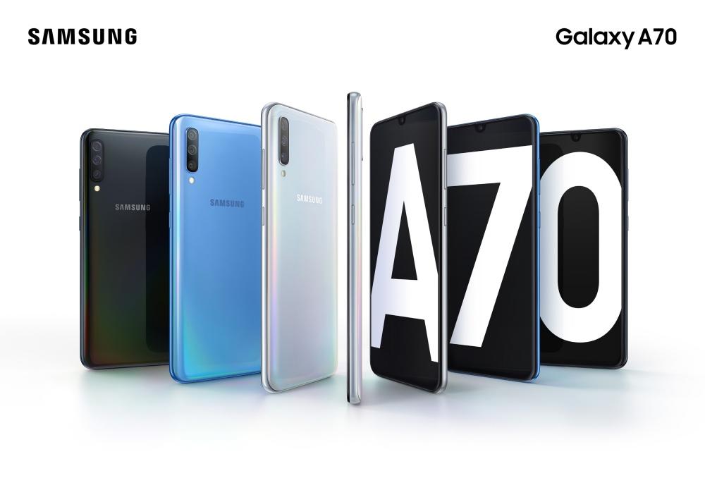 Galaxy A70 Product KV combo blackbluewhite 2P1 三星揭曉新款中階手機Galaxy A70 強調帶來更好拍攝與連網使用體驗