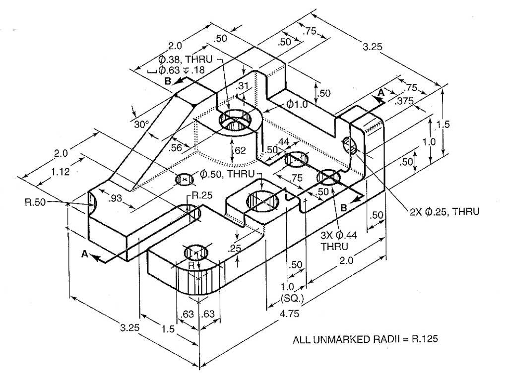 Engineering 3 View Drawings