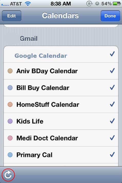 iphone Google Calendar refresh