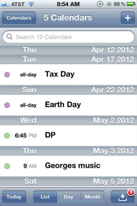 Google Calendar List View
