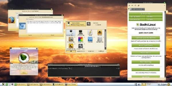 Bhodi Linux Moksha Desktop