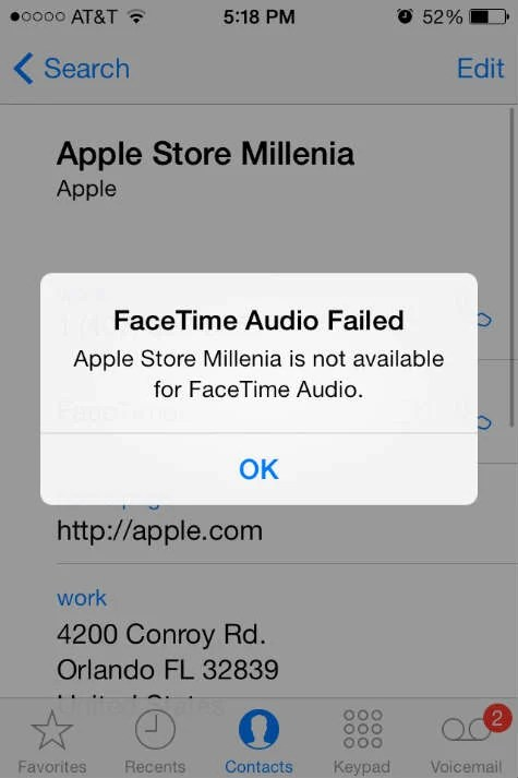 ios7 FaceTime Audio Fail