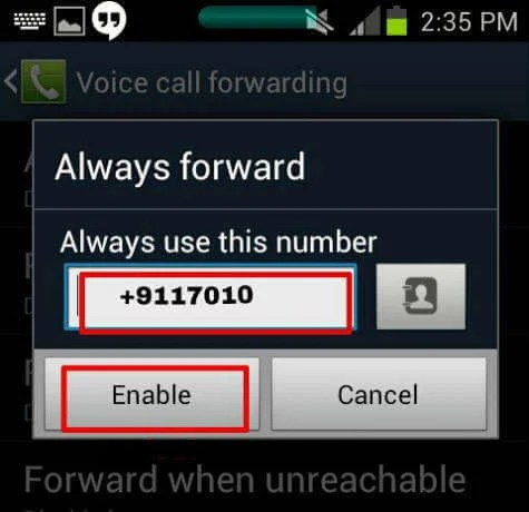 android forward number smart phone unreachable