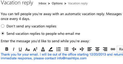 hotmail vacation response setting