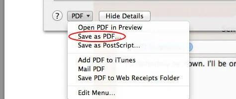 MAC Save As PDF