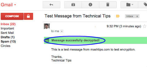 decrypted test message