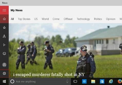 Microsoft news app customise