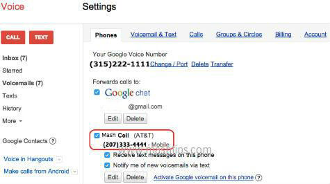 google voice cell phone number
