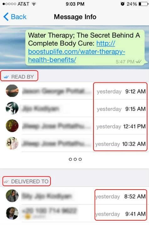 whatsapp group message status