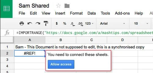 google sheet tab request access