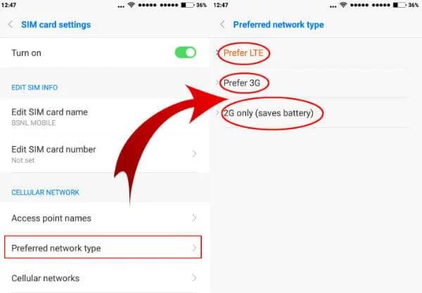 preferred network type