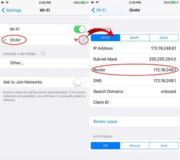 find iOS WiFi gateway IP