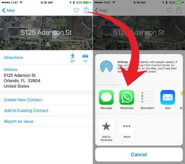 apple map share location