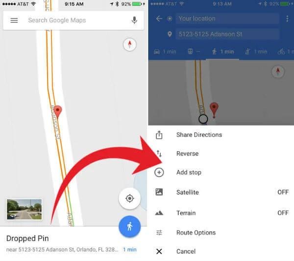 google map pin location