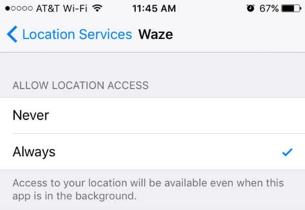 Waze location settings