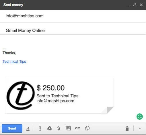 gmail money transfer attached