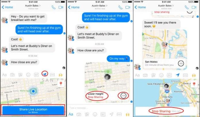 Facebook Realtime Location Sharing