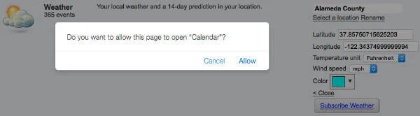 Subscribe weather iCal into Mac