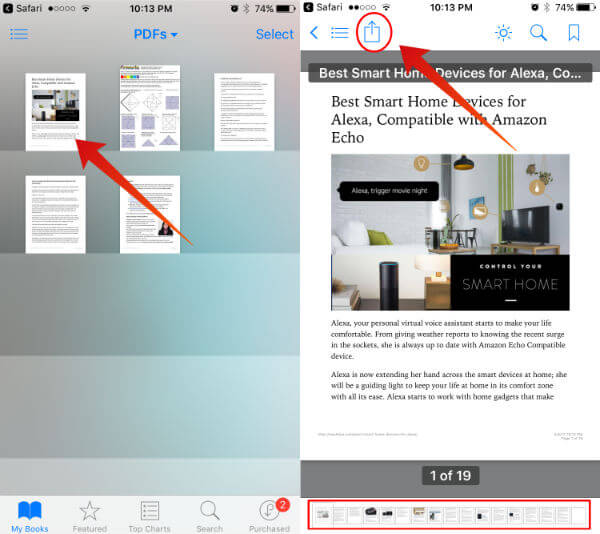 open iBooks to Send PDF