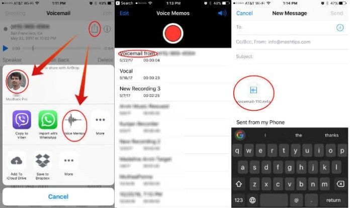 Share iPhone Voicemail Voice Memo