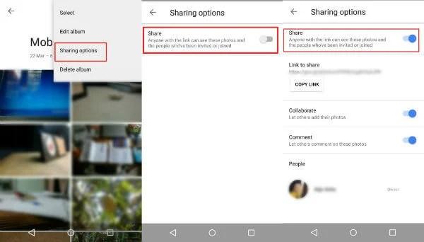 Google Photo Sharing Albums