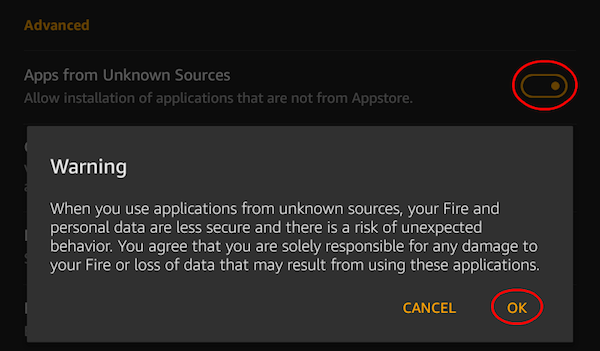 Android Fire Install Apps from Unknown Source