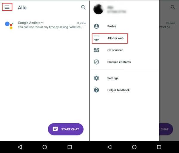 Google Allo Start Screen and Menu