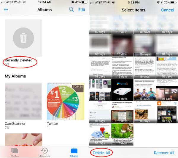Empty Recent Delete Album iOS
