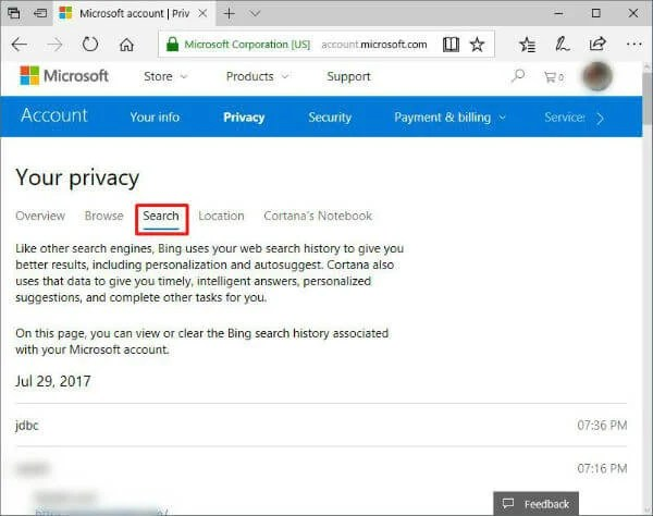 Microsoft Privacy Dashboard
