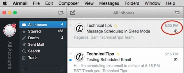 Email delivered in sleep mode