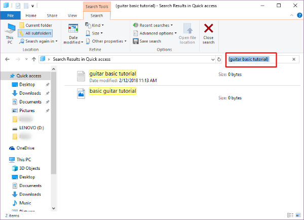 Windows 10 Boolean Parantheses Search