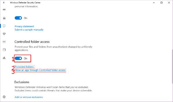 Windows Controled Folder Access