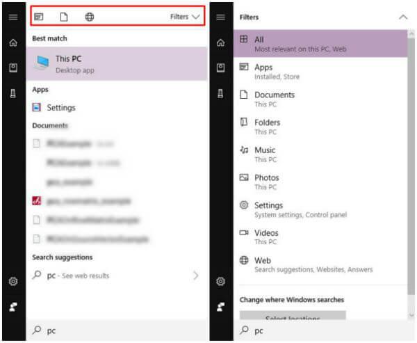 Windows 10 Taskbar Search Filters