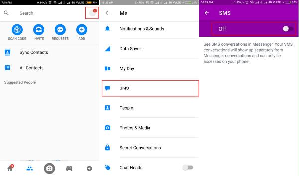 SMS settings in Messenger app