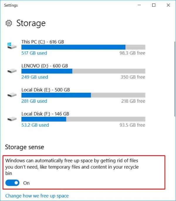Activate Storage Sense in Windows 10 gaming optimization