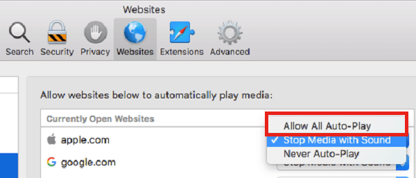 Allow Auto-Play exceptions for Safari