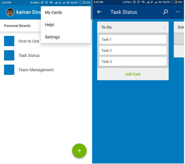Android project management app - Trello