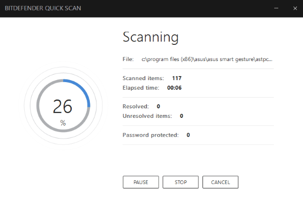 Bitdefender Total Security 2018 Quick Scanning