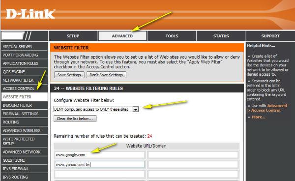 DLink Router Website Blocking
