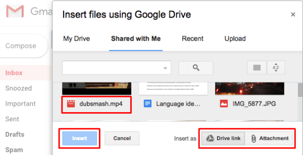 Google Drive Large File Attach